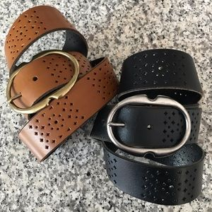Leather Belt Pair 32""